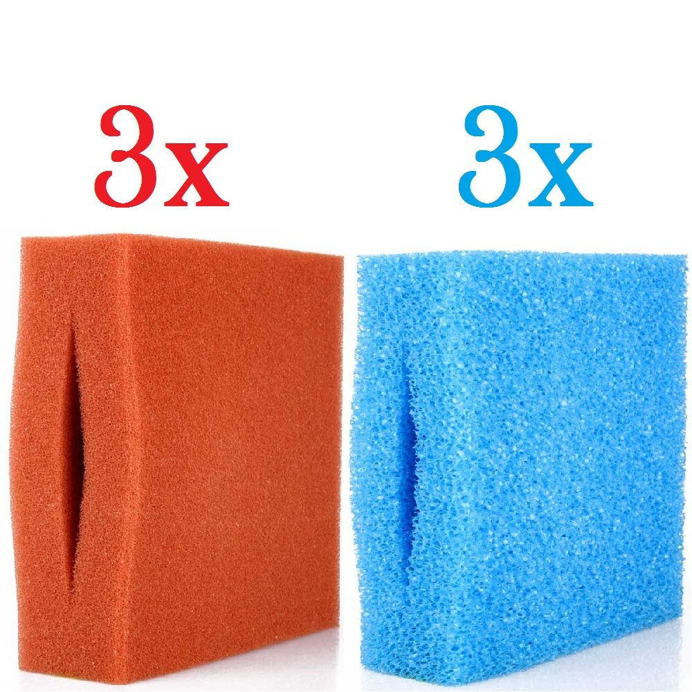 Replacement filter sponge set suitable for Oase Biotec 5 10 30 3 x bluee (coarse) and 3 x red (fine)
