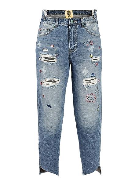 a3d17c2d04 Wiya Jeans Boyfriend Strappati con Stampe Donna Blu Cotone: Amazon ...