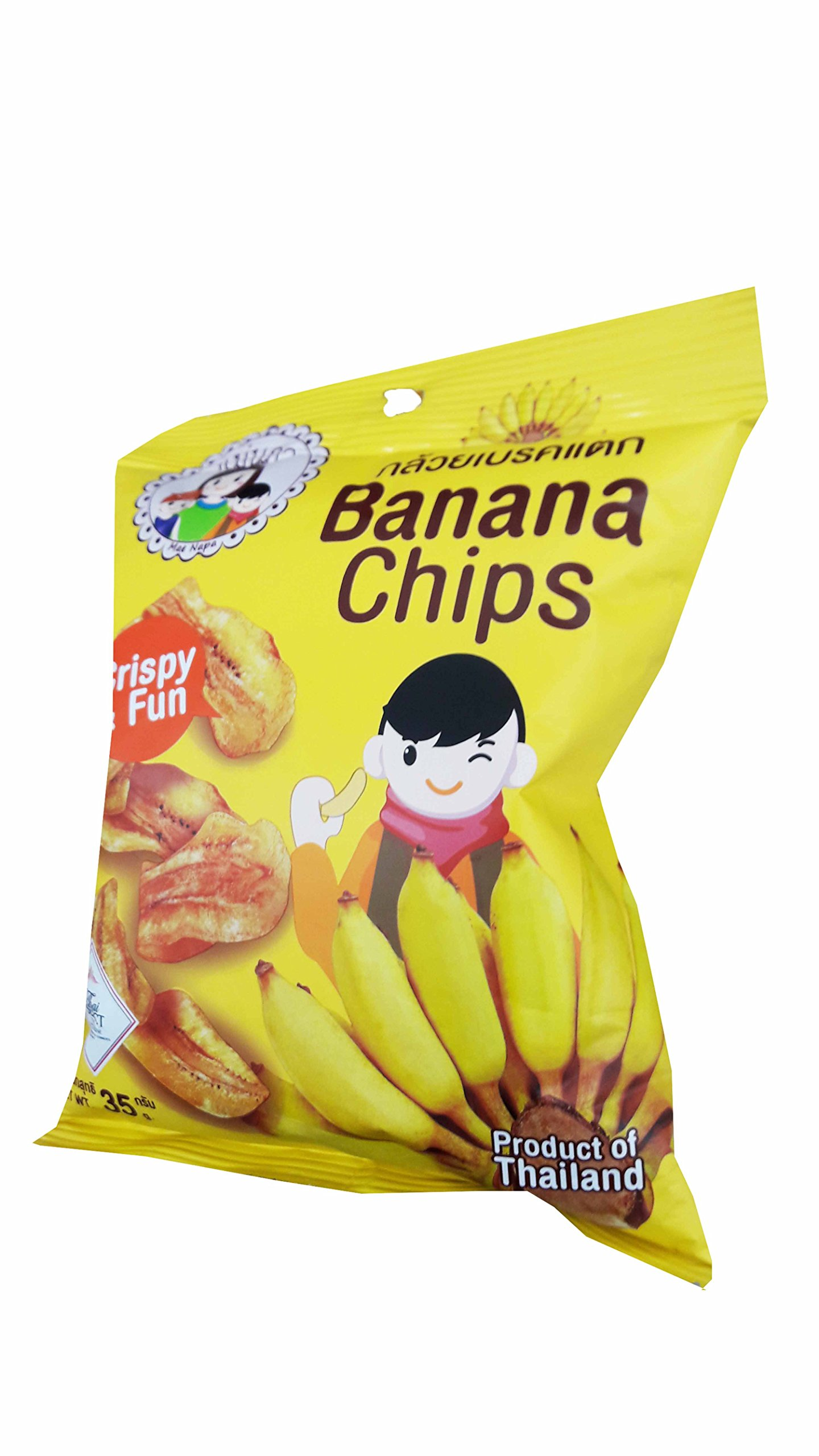 3 packs of Banana Chips, Crispy Banana by Mae Napa, Healthy and Delicious Snack. Premium quality snack from Thailand.(35 g/pack)