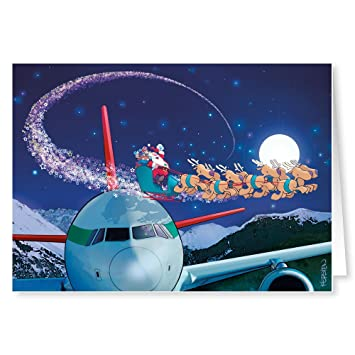 airplane theme christmas card 18 cards envelopes - Airplane Christmas Cards