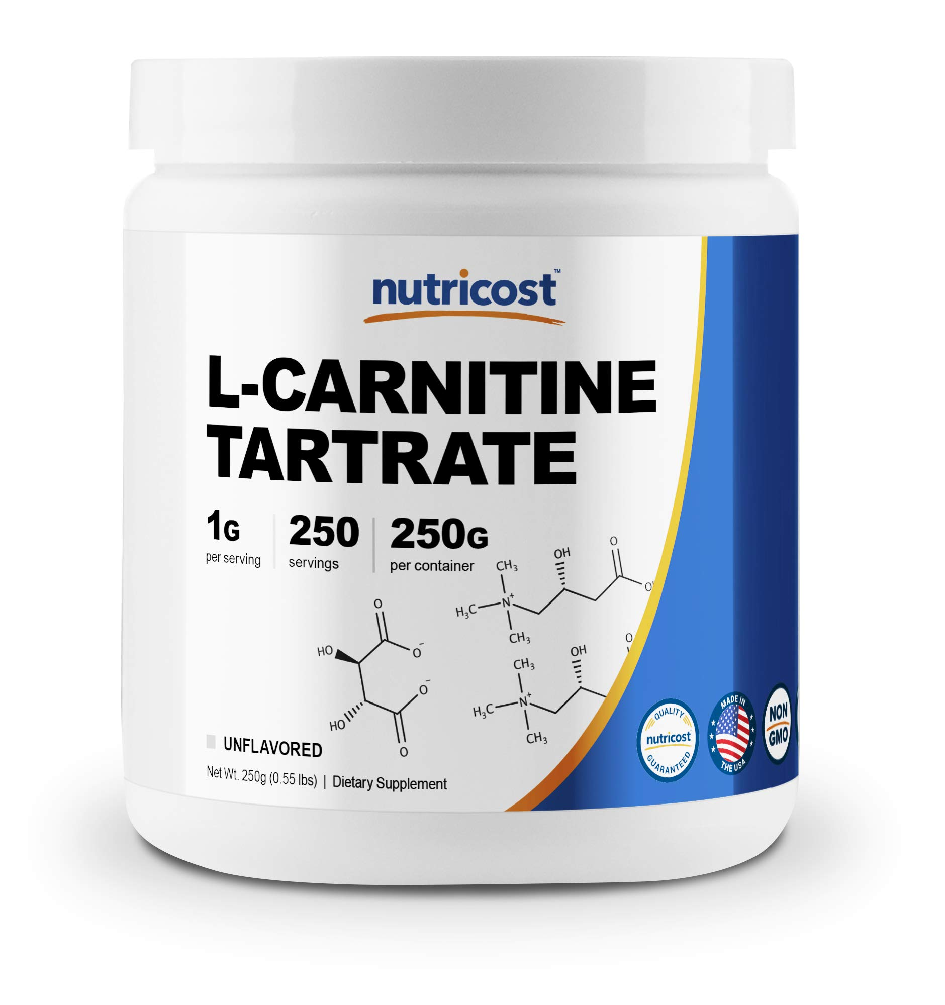 Nutricost L-Carnitine Tartrate Powder (250 Grams) - 1 Gram per Serving, 250 Servings by Nutricost