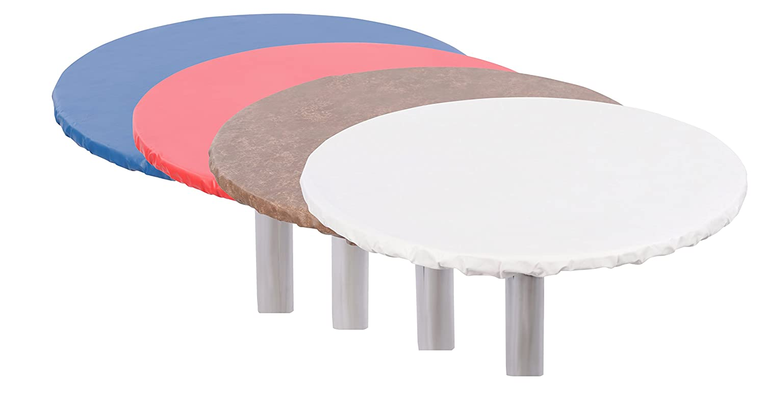 """Yourtablecloth Heavy Duty Vinyl Round Fitted Tablecloth with Flannel Backing Vibrant Colors Elasticized Tablecloth Great for Indoor and Outdoor Dining and Playing Cards 60/"""" Sand FITTED-SAN-60-YT Table Cover"""