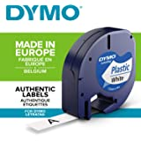 DYMO LetraTag Plastik Etiket Şeridi, 12 mm x 4 m - Beyaz Üstüne Siyah (S0721610)