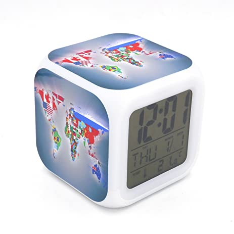 Amazon boyan new world map led alarm clock desk clock glowing boyan new world map led alarm clock desk clock glowing led digital alarm clock calendar thermometer gumiabroncs Image collections