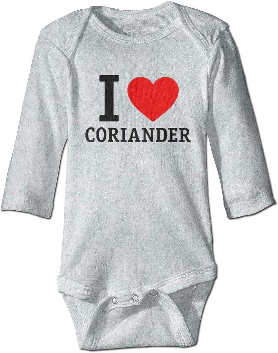 Marsherun Baby Boys Girls I Love Coriander Long-Sleeve Bodysuit Playsuit