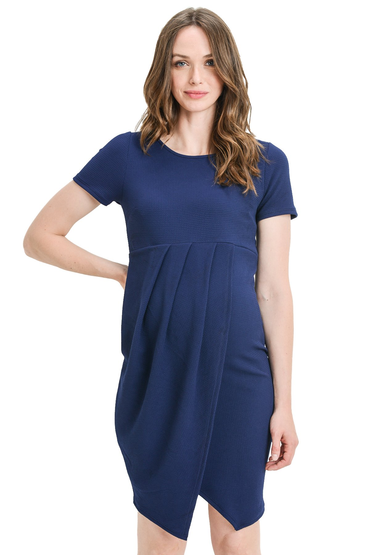 Hello MIZ Women's Short Sleeve Front Pleated Knee Length Midi Maternity Dress - Made in USA (X-Large, Navy)