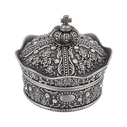 Caja de joyería con diseño de Corona Vintage Decorada con Escultura de Rosa, Regalo Creativo