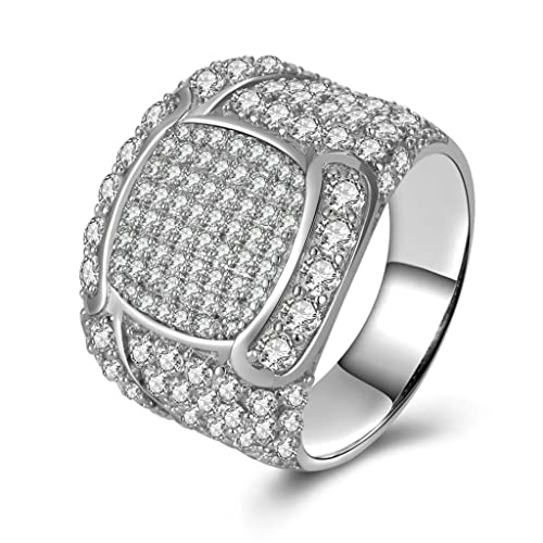 Daesar Joyería Anillo Compromiso de Plata Hombre, Alianzas Boda Originales Sello con Diamantes de Pavé
