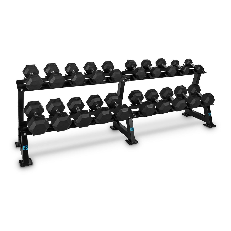 Capital Sports Deportar estante para mancuernas (soporte 20 pesas, 2 alturas, acero, apto pesas redondas o hepesas deagonales, placas de plástico rígido, ...