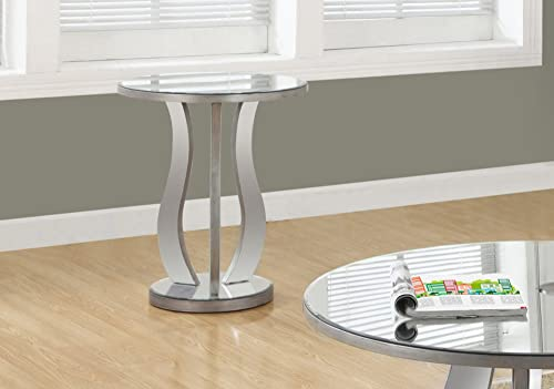 Monarch Specialties Accent End Table Mirrored, 24 H, Brushed Silver