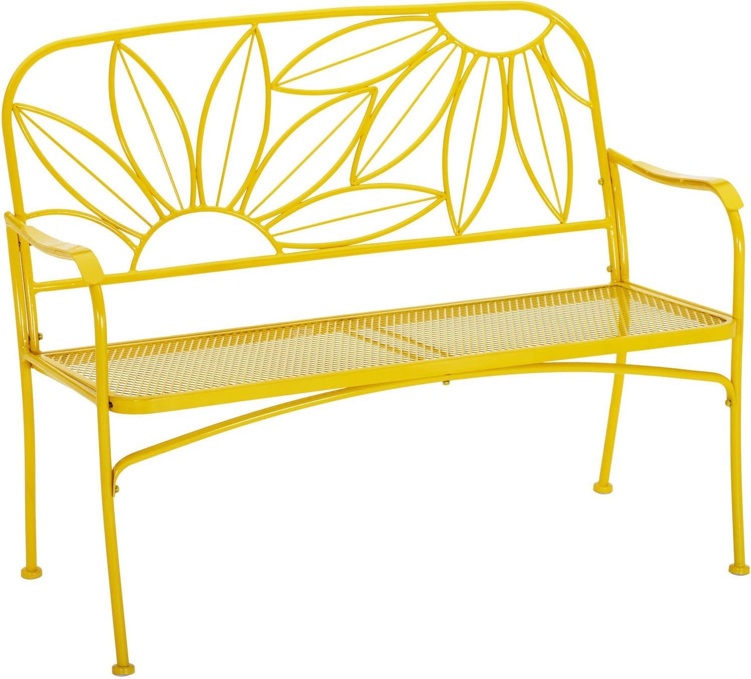 KOVALENTHOR Sunny Metal Bench for Porch, Deck, Lanai, Terrace, or Garden Seat