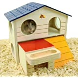 Pet Small Animal Hideout Hamster House Deluxe Two Layers Wooden Hut Play Toys Chews