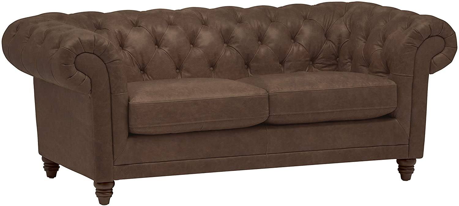 "Stone & Beam Bradbury Chesterfield Tufted Leather Loveseat Sofa Couch, 78.7""W, Chestnut Brown"