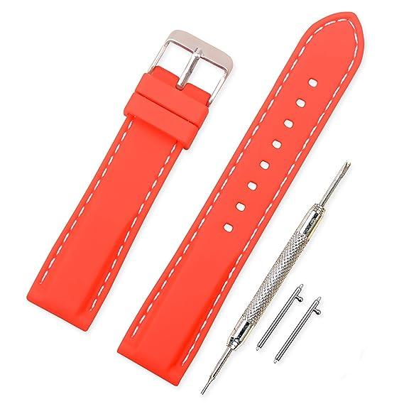 3a78765db Vinband Correa Silicona Reloj Correa Suave Reemplazo de Banda de Acero  Inoxidable Hebilla - 18,