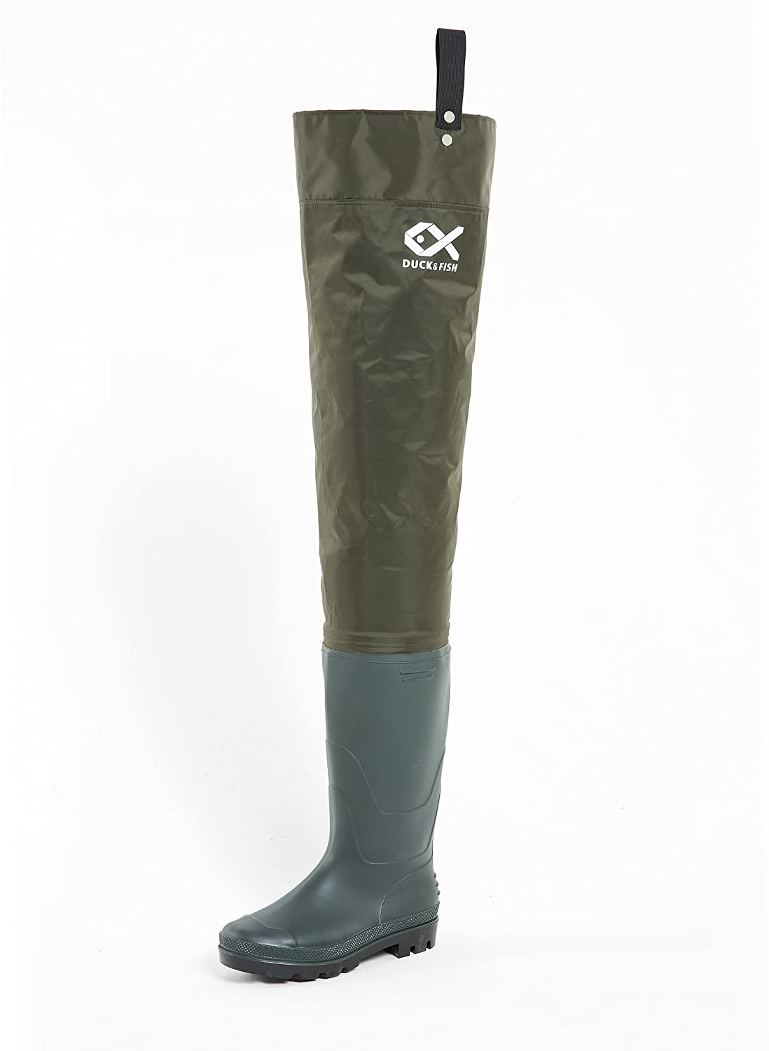 Duck and Fish Green Fishing Wader Hip Boots with Cleated Outsole