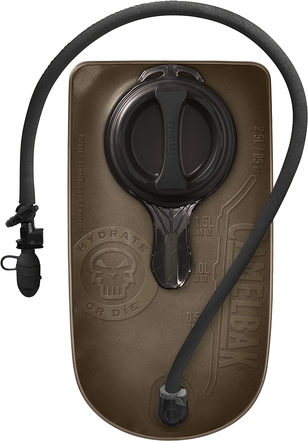 This is an image of a hydration bladder, oody brown in color with black tube cover