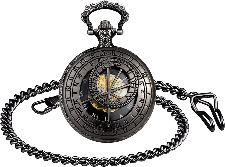 MICGIGI-Reloj de bolsillo mecánico unisex con 12 constelaciones de esqueleto de bolsillo con cadena (negro)