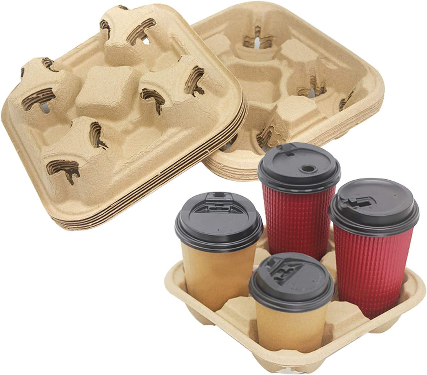 25 Pack 4 Cup Disposable Coffee Tray, Stackable Cup Holder for Hot and Cold Drinks, Suitable for Food Delivery, Takeout, and To Go Services