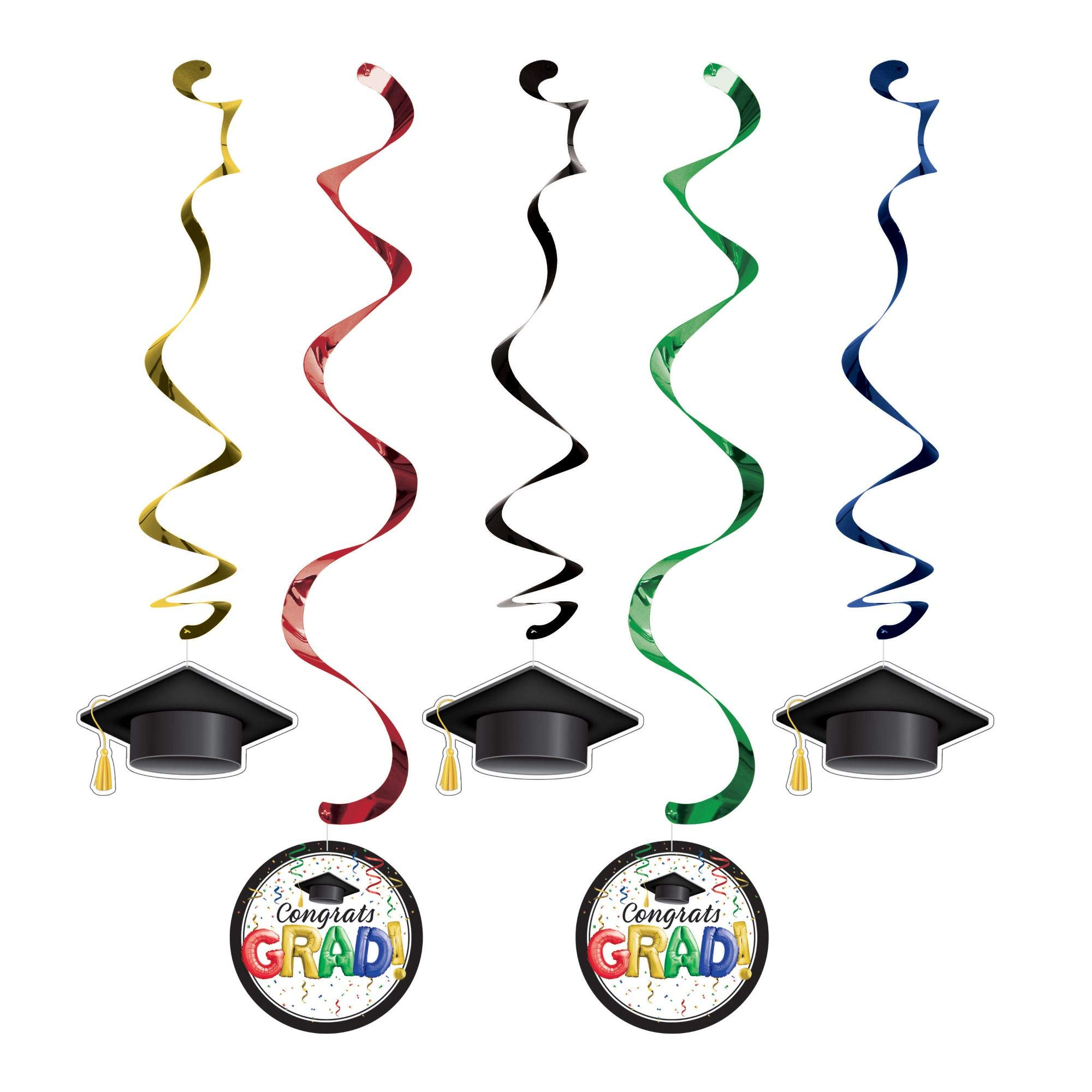 Party Central Club Pack of 60 Black and Green Graduation Dizzy Danglers 39''