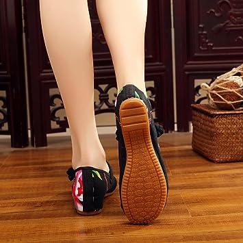 GuiXinWeiHeng xiuhuaxie (new)-Gestickte Schuhe, Sehnensohle, ethnischer Stil, weibliche Tuchschuhe, Mode, bequem, l?ssig innerhalb der Zunahme, red, 36
