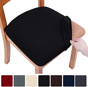 Amazon Com Smiry Stretch Spandex Jacquard Dining Room Chair Seat Covers Removable Washable Anti Dust Dinning Upholstered Chair Seat Cushion Slipcovers Set Of 2 Black Furniture Decor
