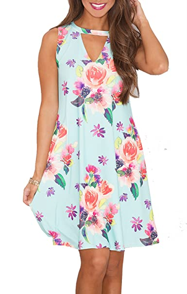 81230fa2e80 Relipop Summer Dress Beach Dresses Sleeveless Casual Floral Short Dress  (Small