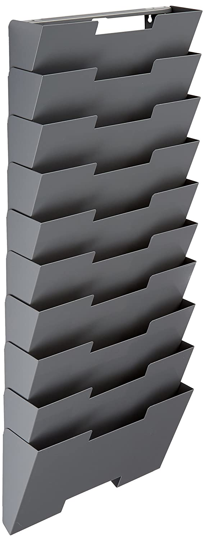 Wallniture Lisbon Black Wall Mounted Steel File Holder - Organizer Rack 10 Sectional Modular Design Letter Size 13 inch - Multi-Purpose Organizer Display Magazines - Sort Files and Folders Fasthomegoods SYNCHKG084304