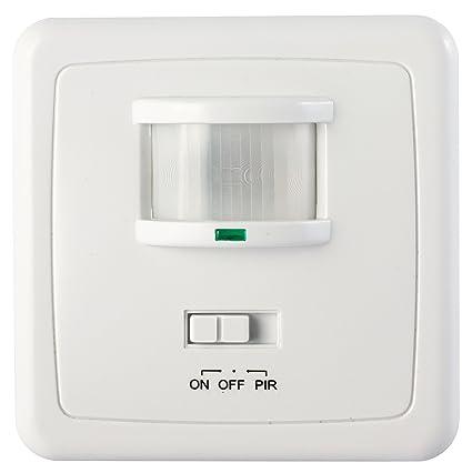 Garza Power - Detector de Movimiento Infrarrojo de Pared Empotrable, Ángulo de Detección 160º,