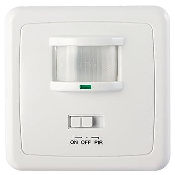 Garza Power - Detector de Movimiento Infrarrojo de Pared Empotrable, Ángulo de Detección 160º, función Interruptor, Blanco