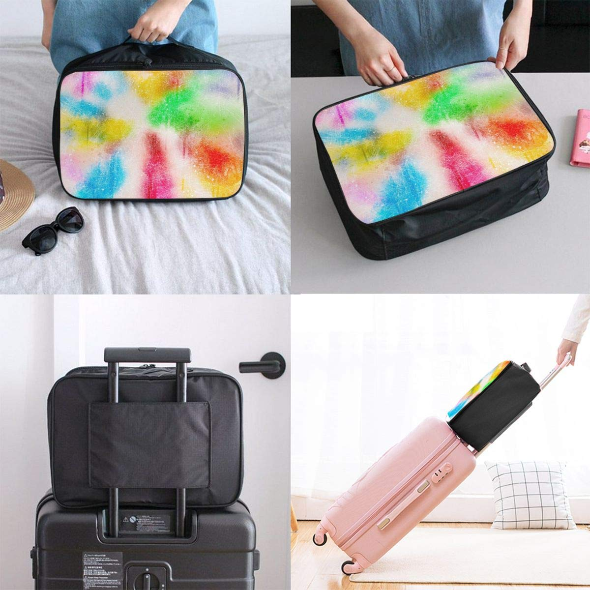 Watercolor Colorful Art Travel Lightweight Waterproof Foldable Storage Carry Luggage Large Capacity Portable Luggage Bag Duffel Bag