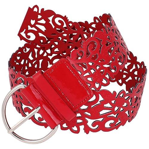 Cinturón de piel sintética para mujer de color rojo rojo rosso