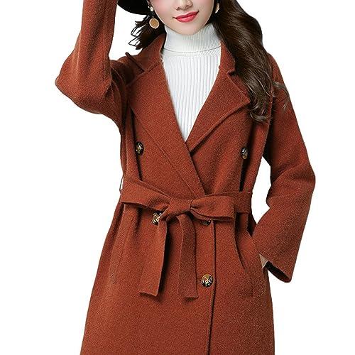 Moda Largo Abrigo de lana Para mujeres Elegante Sobretodo de lana Con cinturón Para otoño e Invierno