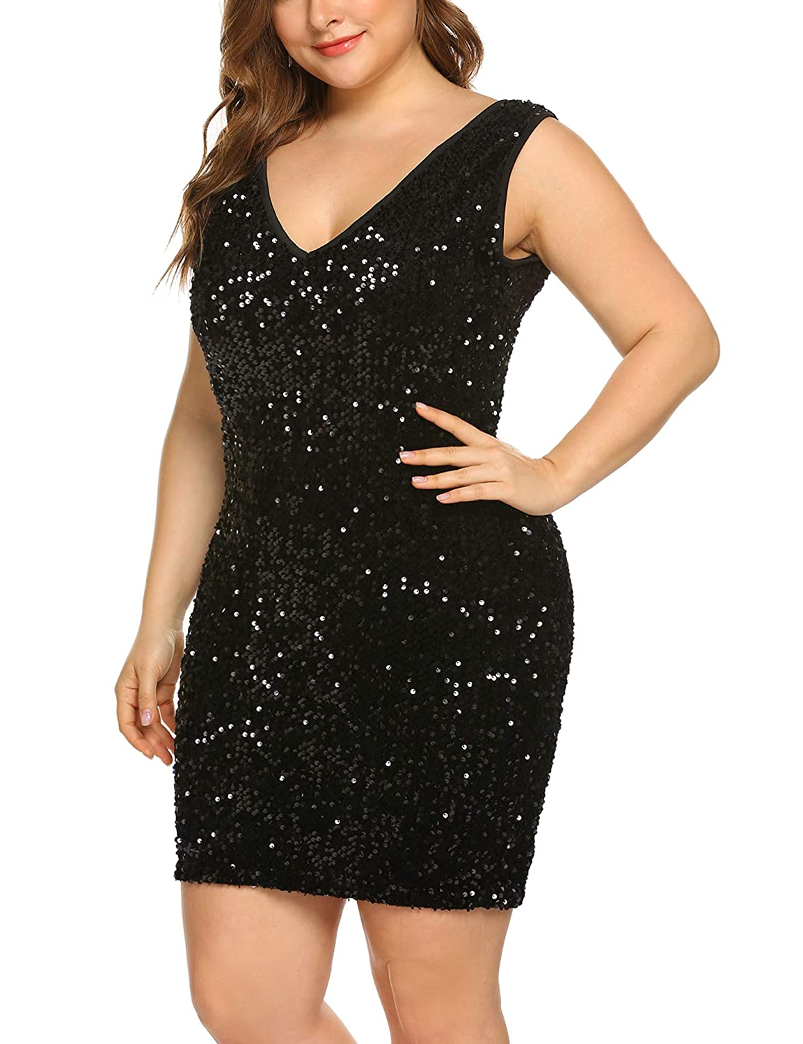 60s 70s Plus Size Dresses, Clothing, Costumes INVOLAND Womens Sequin Dress Plus Size Sexy V Neck Party Cocktail Bodycon Formal Glitter Sleeveless Mini Dresses $40.99 AT vintagedancer.com