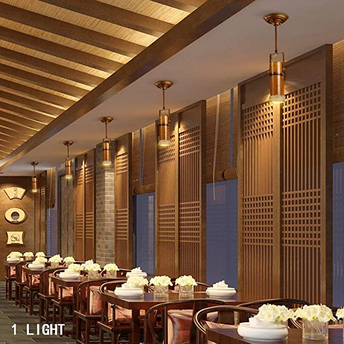 XHJJDJ Araña Vintage, Restaurante Downlight de Bambú Bar ...