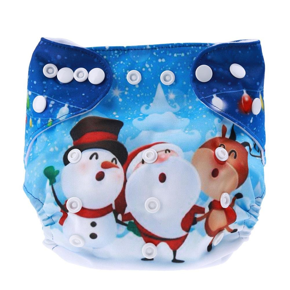 Silveroneuk Reusable Baby Nappies Christmas Soft Newborn Cloth Diaper Washable Cover 225368
