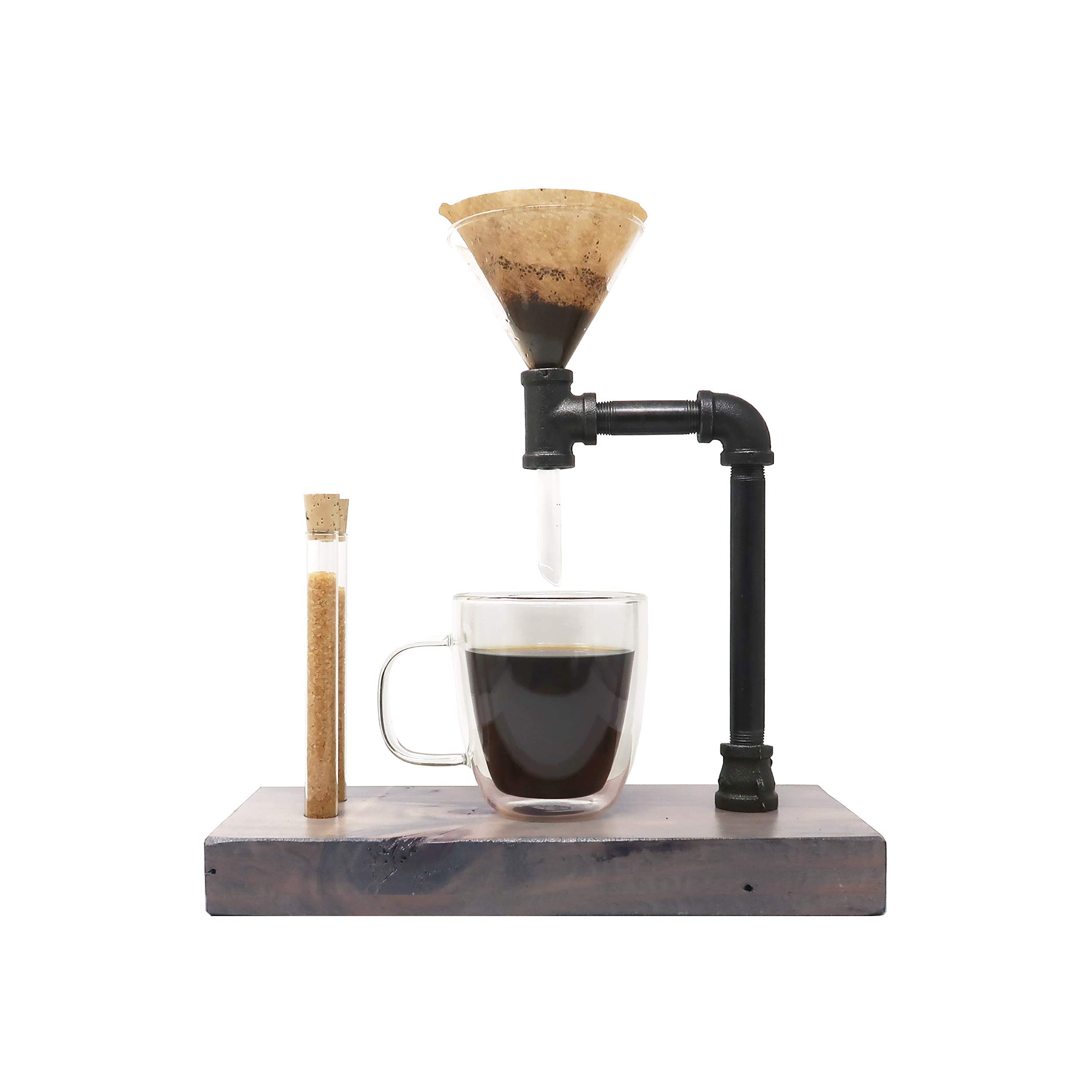 Pour Over Coffee Maker with Glass Funnel Pour Over - Pour Over Coffee Dripper - Reclaimed Wood and Pipe - 3-Cups (14 oz/400ml) (Classic Gray)