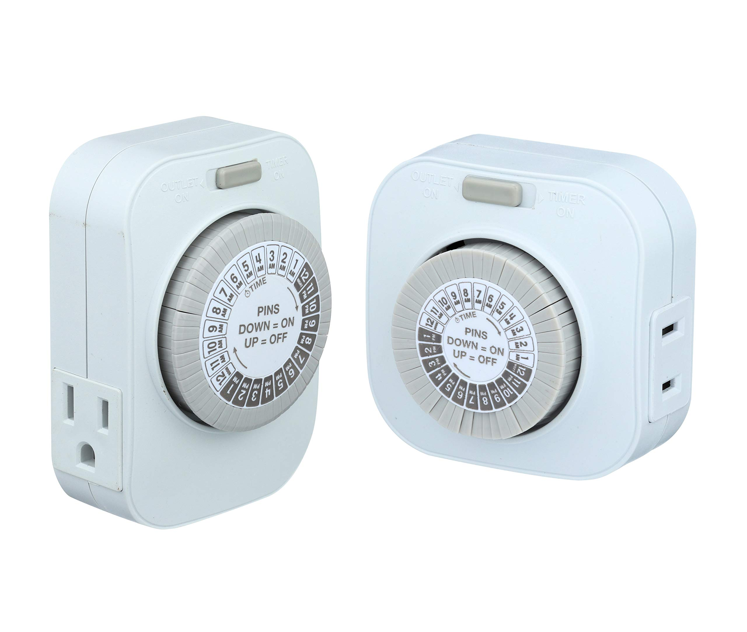 Shabbat Timer, Bundle of 2 Mechanical Timers for Shabbat Hot Plate and Other Appliances: Basic 1-Outlet Timer and Heavy Duty Timer with 2-Outlets