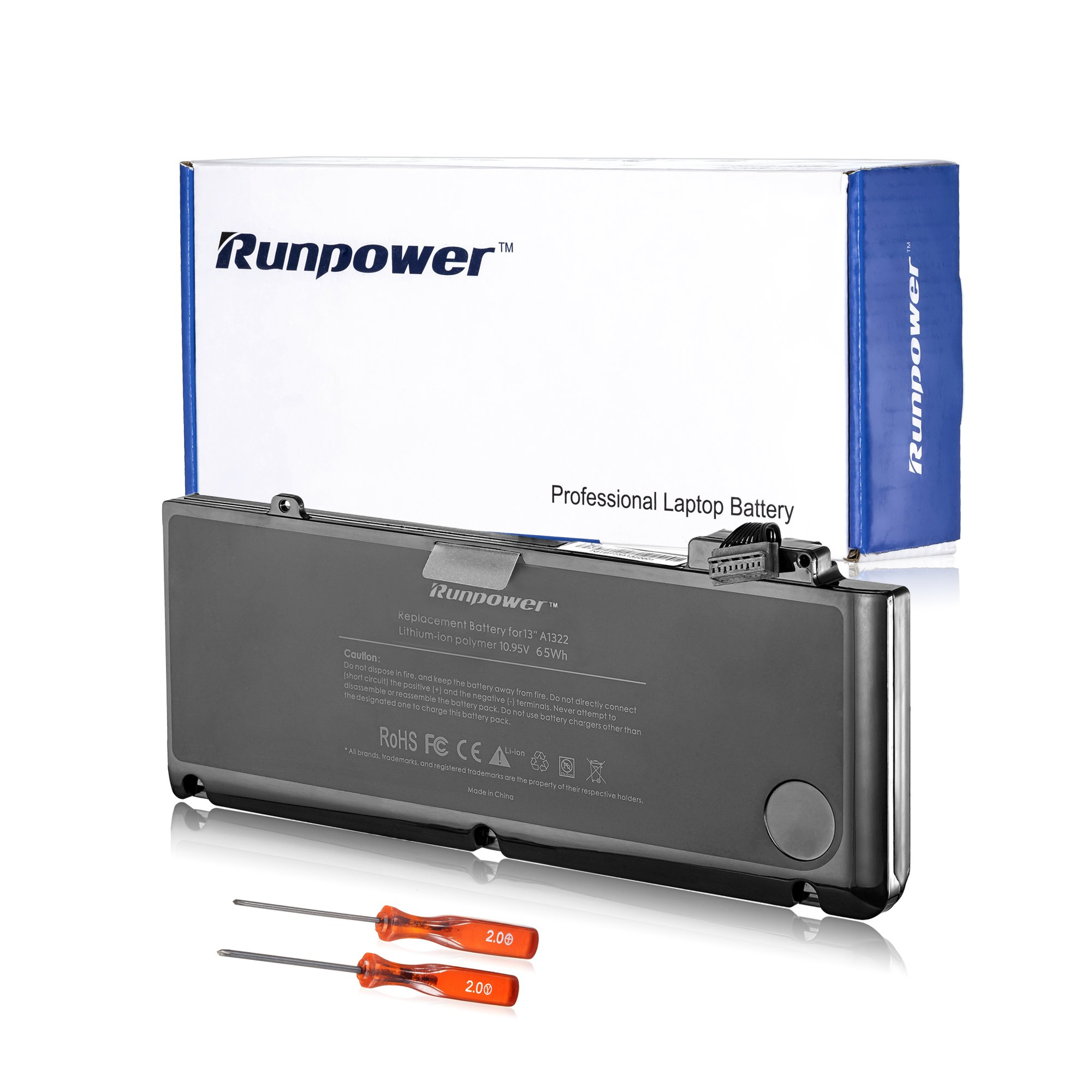 Runpower Replacement Battery for MacBook Pro 13 inch A1278(Mid 2009, Mid 2010, Early 2011, Late 2011, Mid 2012) A1322 [10.95V 6000mAh]