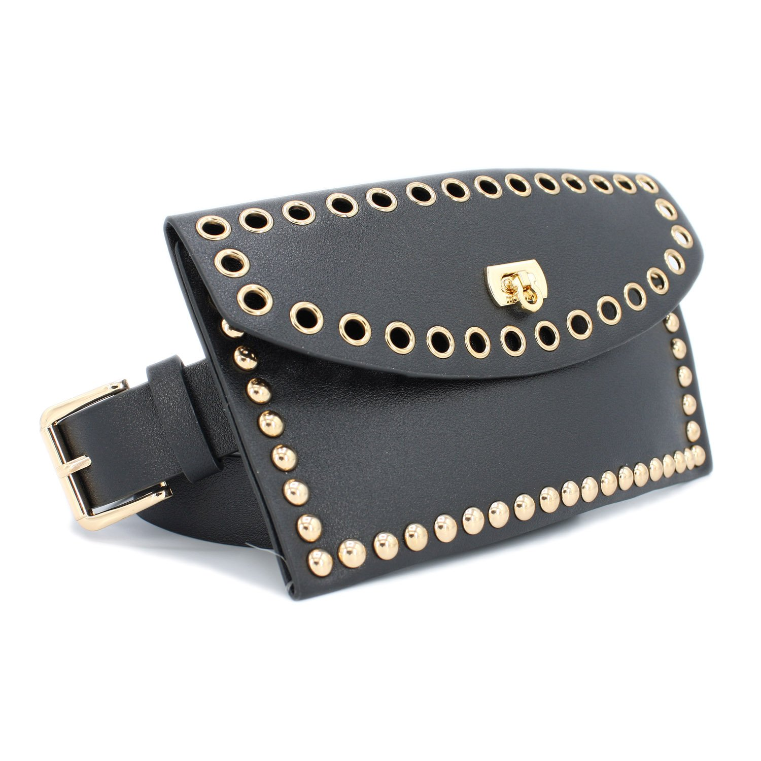 Set of Studded Dot Pouch and Square Metal Buckle (BLACK)