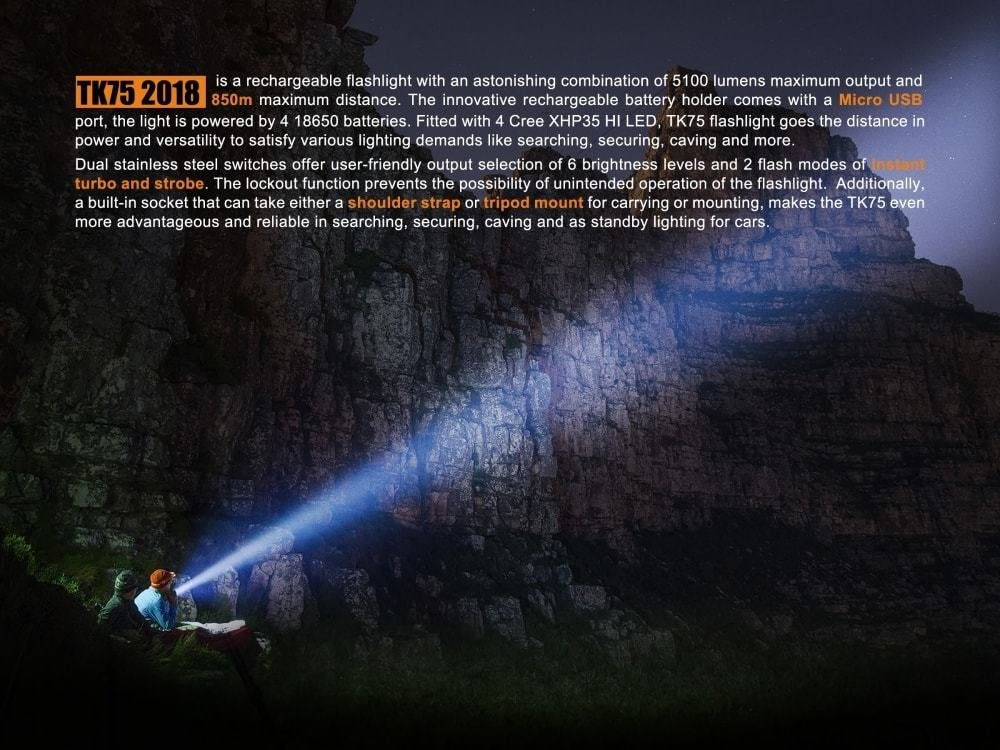 FENIX TK75 5100 Lumen 929 yards beam 2018 Edition CREE LED USB rechargeable Flashlight with Four Fenix rechargeable 18650 Batteries and 4 X EdisonBright CR123A batteries bundle by EdisonBright (Image #5)