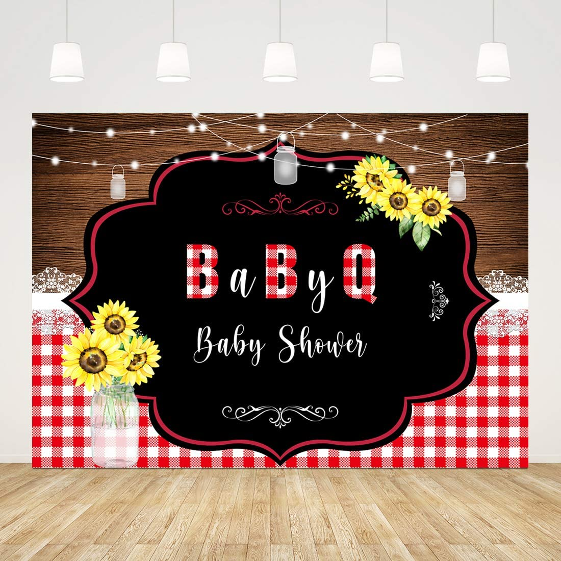 Baby-Q Baby Shower Photography Backdrops Rustic Wood Lace Sunflower Baby Shower Background Shiny Lights Mason Jar Newborn Baby Party Decorations Banner Photo Studio Props