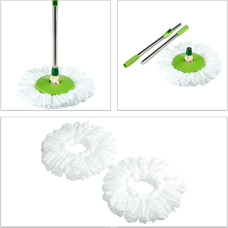 22x45x25 cm Relaxdays Fregona Giratoria con Palo Telesc/ópico y Cubo con Escurridor de Pl/ástico Microfibra-Metal Verde//Plata