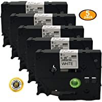 NEOUZA 5Pk Compatible For Brother P-Touch Laminated Tze Tz Label Tape Cartridge 9Mm X 8M (Tze-221 Black On White )