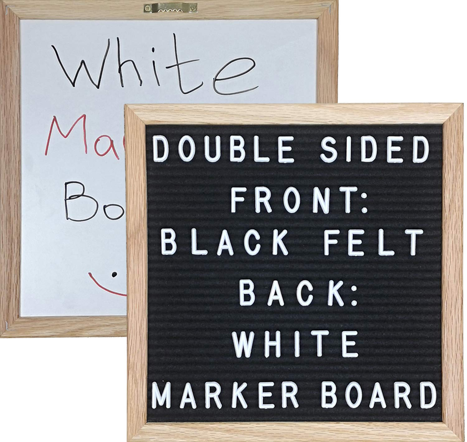 Double-Sided Black Felt Letter Board & White Marker Board 10X10 with 346 Letters Symbols & Emojis, Easel, 36 Slot Organizer Set, Cutters, Letter Pouch, and 5 Markers