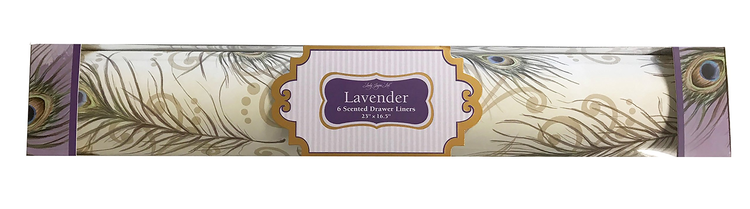 Lady Jayne Lavender Scented Drawer Liners with Feathers on Cream Background, 6 Sheets