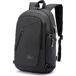 8a85cf2e0a WENIG Antivol Sac à Dos Ordinateur Portable 15.6 Pouces Homme Imperméable  avec USB Charging Port Sac