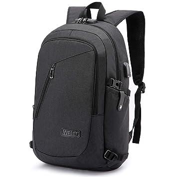 3e6af6898d WENIG Antivol Sac à Dos Ordinateur Portable 15.6 Pouces Homme Imperméable avec  USB Charging Port Sac