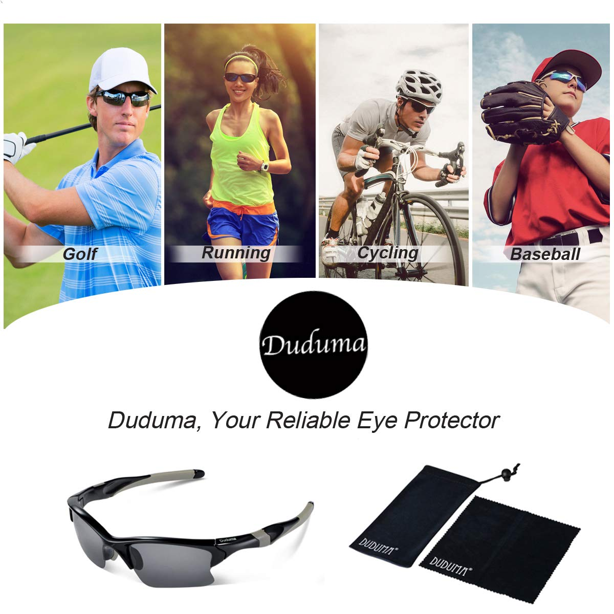 eba4a16e93e Amazon.com  Duduma Polarized Sports Sunglasses for Men Women Baseball  Fishing Golf Running Cycling Driving Softball Hiking Unbreakable Shades  Tr566  Sports ...