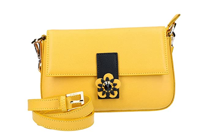 efb5af24cf Borsa donna mano con tracolla PIERRE CARDIN gialla in pelle Made in Italy  N1009: Amazon.it: Abbigliamento