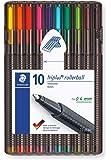 Staedtler Triplus Roller 403 SB10 Triangular Rollerball Desktop Box - Assorted Colours (Pack of 10)